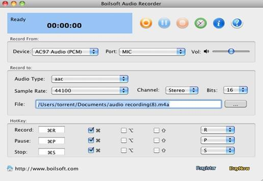 Boilsoft Audio Recorder for Mac