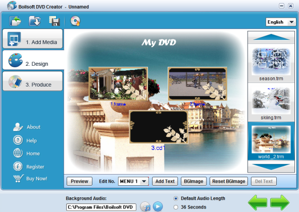 menu design with boilsoft dvd creator dvd burner dvd menu designer