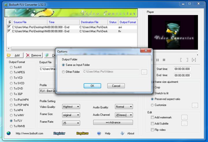 Boilsoft Flv converter - convert flv video to all popular