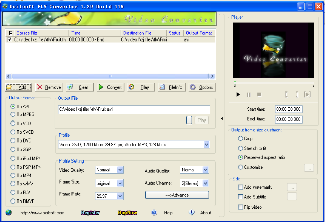 Click to view Boilsoft FLV Converter 1.52.9 screenshot