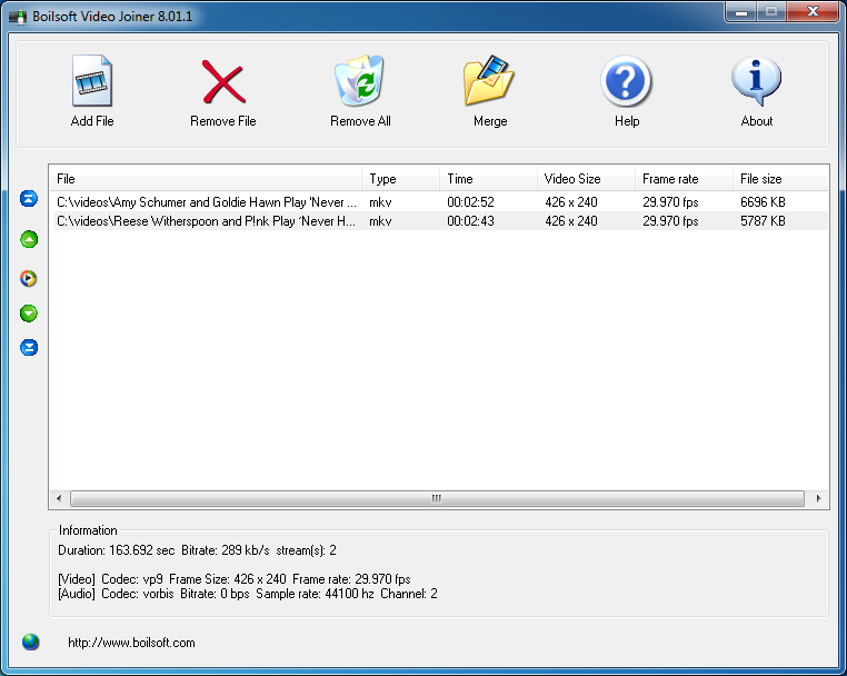 MKV Joiner - MKV Merger - Join/Merge MKV files without re