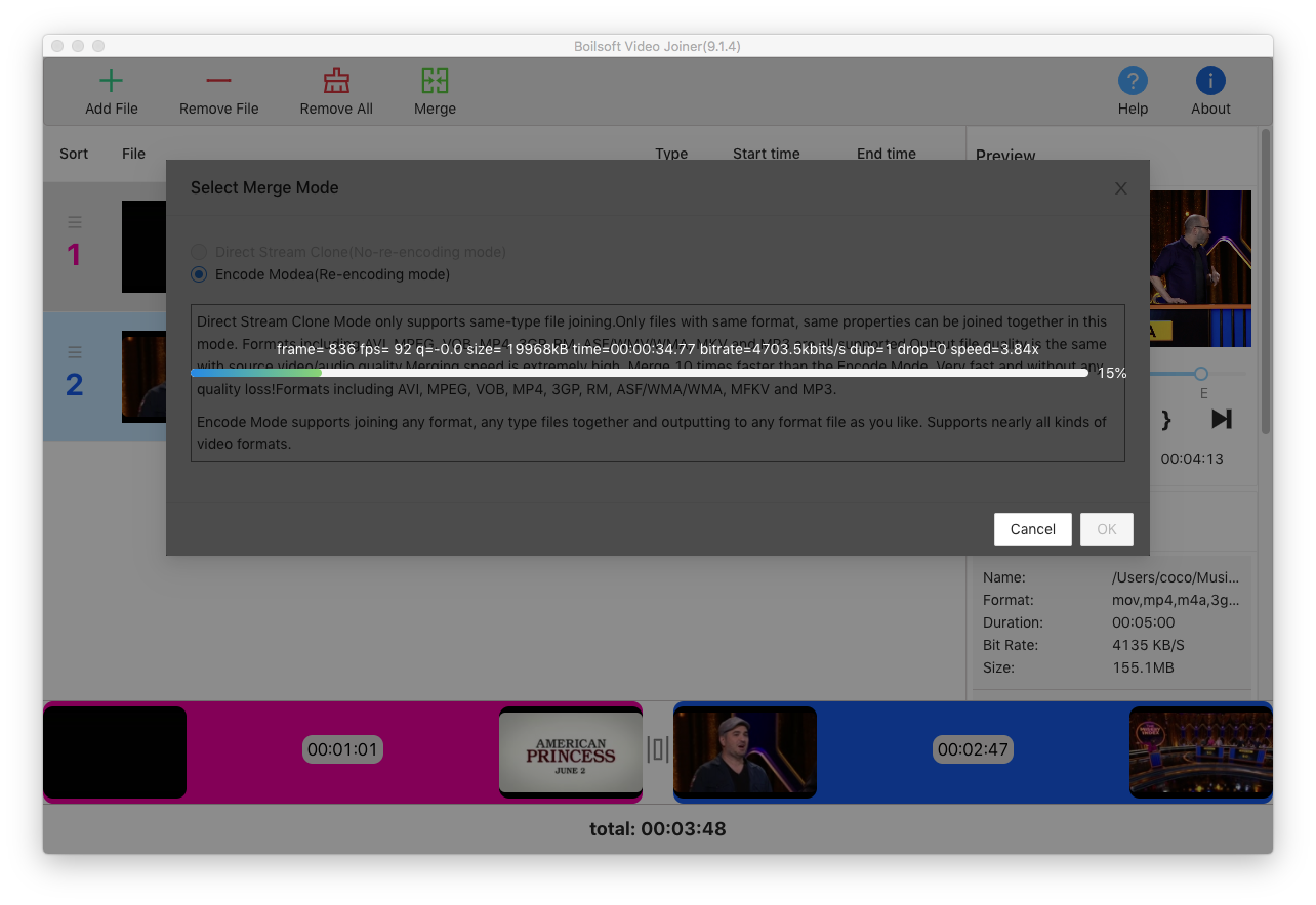 Boilsoft Video Joiner for Mac Screenshot