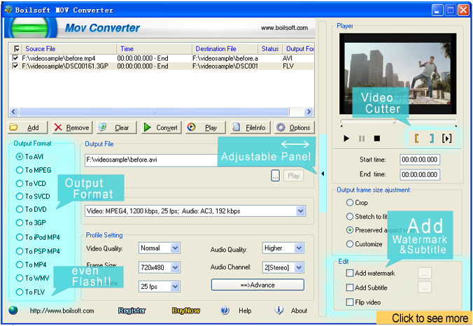 Boilsoft MOV Converter Screenshot