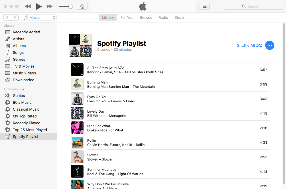 How to transfer Spotify playlists to iTunes?