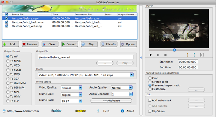 Boilsoft Video Converter for Mac Screenshot