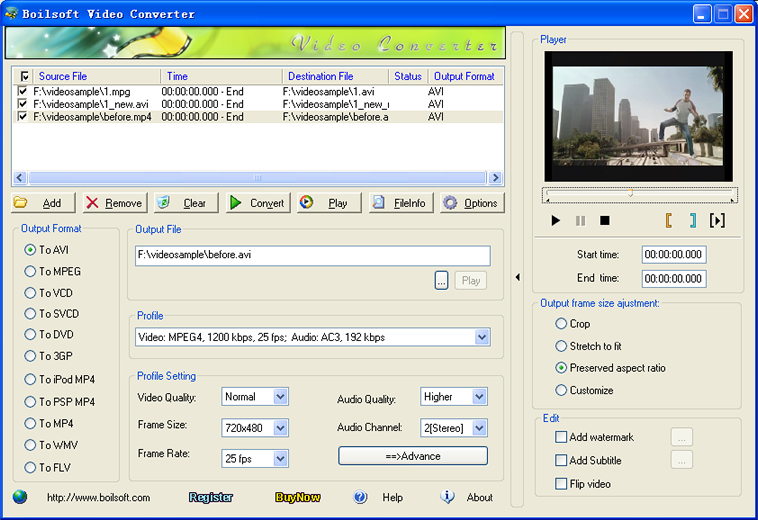 Click to view Boilsoft Video Converter 3.01 screenshot