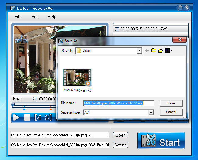Boilsoft Video Cutter - cut avi/mp4/vob video files to all popular