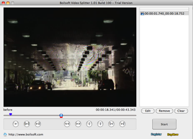 Click to view Boilsoft Video Splitter for Mac 1.03.1 screenshot